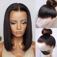 BOB Wig Human-Hair-Wigs Lace-Frontal Blunt-Cut Color 150%Density Pre-Plucked 360 Straight