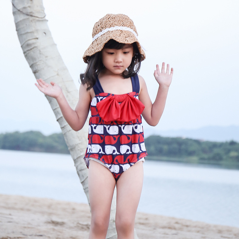 Baby Bathing Suit Women's Infants South Korea One-piece Cartoon Ice Cream Cute Princess Swimwear Small CHILDREN'S 1-10-Year-Old