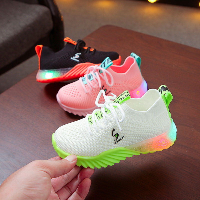 New Children Luminous Shoes Boys Girls Letter Sport Run Sneakers Casual Shoes Fashion Kids Mesh Sport Girl Led Light Shoes