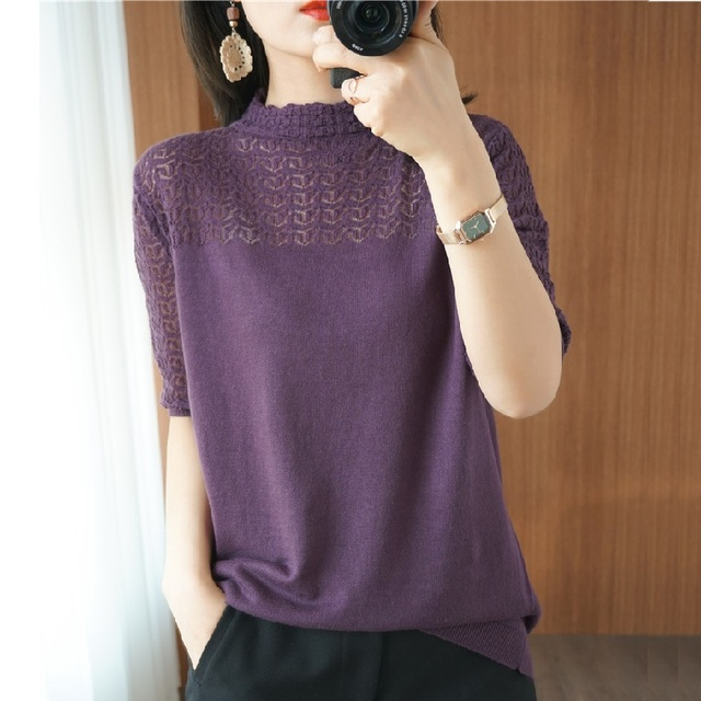 Summer Women knitted Short sleeve 2021 Thin Sweater Female Hollow out Lace Turtleneck Pullover Ladies knit Cotton Purple Jumpers 4