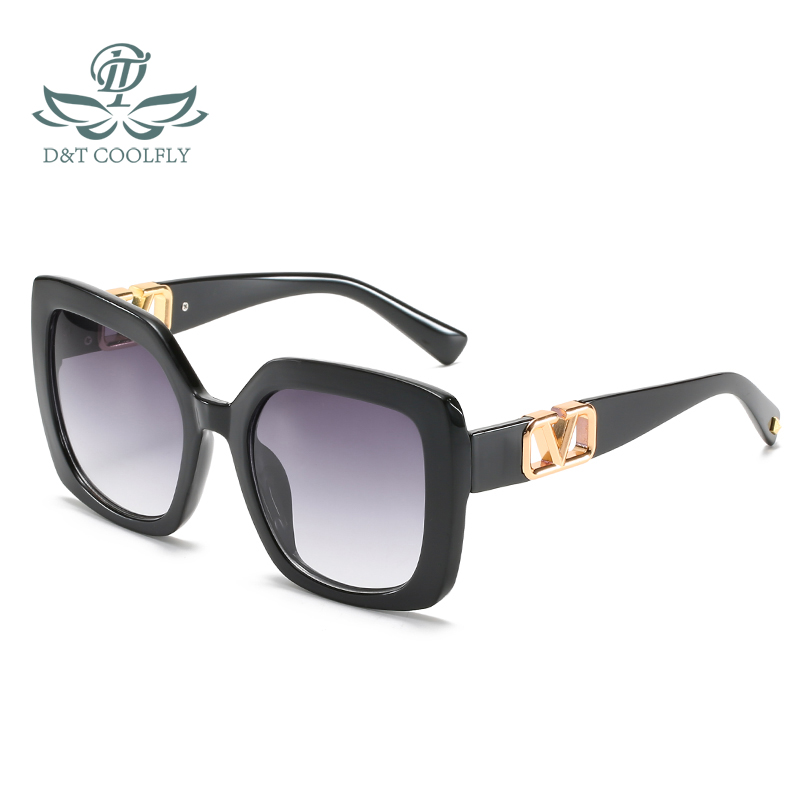 D&T 2021 New Fashion Square Cat Eye Sunglasses Women Men Gradients Brand Designer Luxury V Metal Logo PC Color Lens Sun Glasses