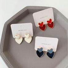 Luokey nova moda duplo coração brincos para mulheres elegante esmalte coreano senhora brincos romântico meninas amor brincos jóias