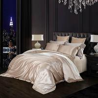 Papa&Mima Light Golden Luxury Satin Natural 100% Mulberry Silk Bedding Sets Queen King Size Duvet Cover Set Sheets Bedlinen