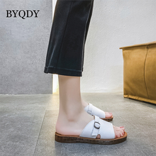 BYQDY 2020 Summer Women Platform Sandals Wedge Heels PU Leather Female Shoes Slip-on Outside Casual Beach Sandals USA Footwear women sandals wedge platform sandals summer slip on ladies high heels shoes fashion open toe casual female footwear 2020