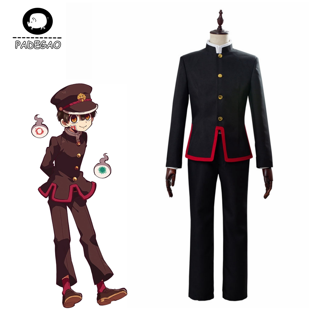 Anime Toilet-Bound Hanako-kun Hanako Kun Cosplay Uniform Balck Full Set Custom Halloween Adult