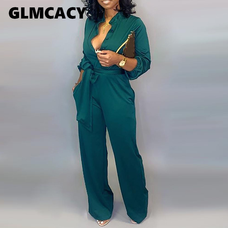 Plus Size Women Button Up Self Belted Pocket Jumpsuit Solid Casual Long Jumpsuit Elegant Office Workwear Chic Fall Streetwear