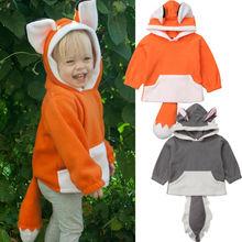 Baby Boy Unisex Fashion Sweatshirts Cute Kids Baby Girls Outerwear Animal Ears Hooded Coat Jacket Halloween Costume 1-4 Years
