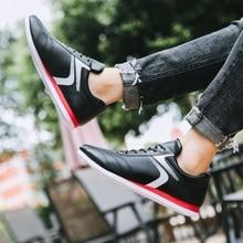 2019 new fashion mens sports shoes comfortable light travel black white leather trend men