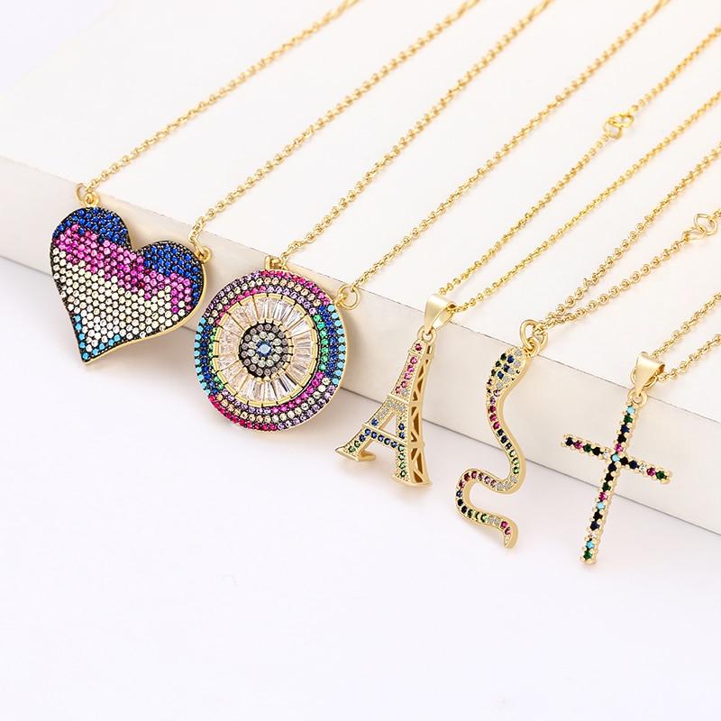 Colar de pingente de ouro cz feminino olho do diabo arco-íris colar jóias zircão coração cobra cruz colares dropshipping