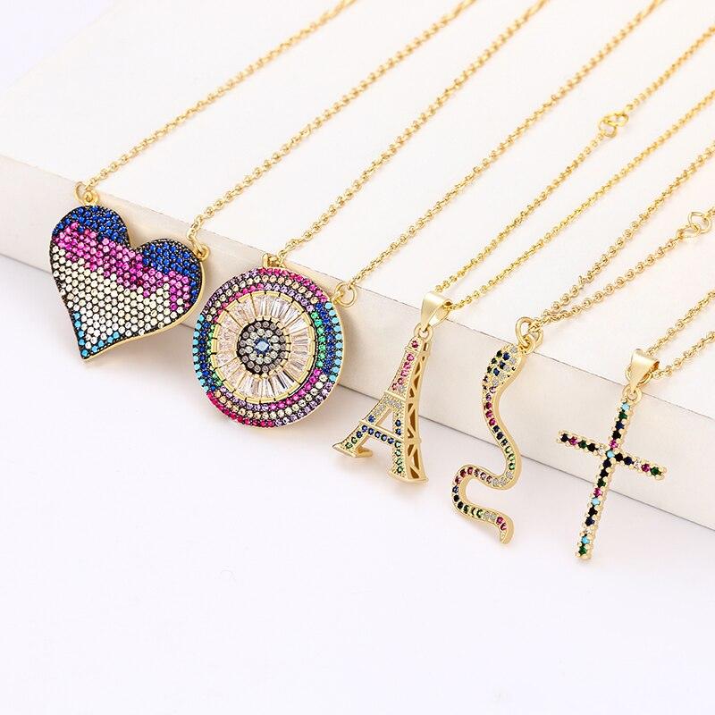 Золотое женское ожерелье с подвеской в форме сердца Радужное ожерелье с дьявольским глазом ювелирные изделия циркониевое медное ожерелье ...