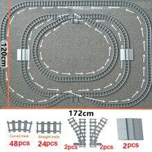 Tren Flexible pistas de la ciudad de trein Cruz carril recto rieles curvos bloques de construcción de ladrillos modelo Compatible con todas las marcas de tren