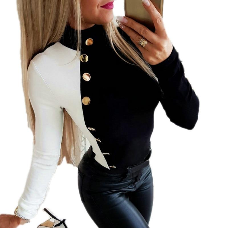 Women arrival Streetwear Autumn T-shirt Long Sleeve Casual Slim Buttoned Top T Shirt 2019 New Dropshipping