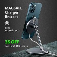 Magsafe telefone carregador suporte da liga de alumínio para o iphone 12mini pro rotação máxima magnético sem fio suporte carregamento rápido