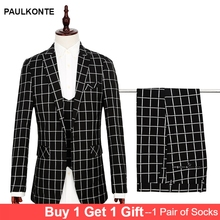 Costume Homme Men Suits set 3pcs 2019 Design Brand Suit Terno Masculino Bruiloft Tuxedo Prom Plaid for Wedding Groom