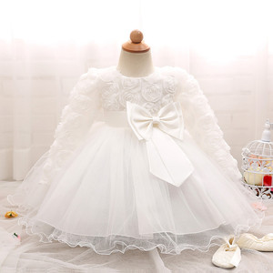 Image 5 - 長袖幼児女の子のドレスのレースの花のための洗礼ドレス女の子初年度誕生日結婚式ベビー服