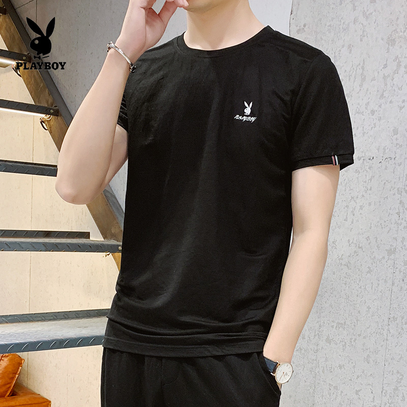 PLAYBOY Shirit Shirts For Men 100% Cotton Playboy Men Shirt Man Summer Three Free Masks