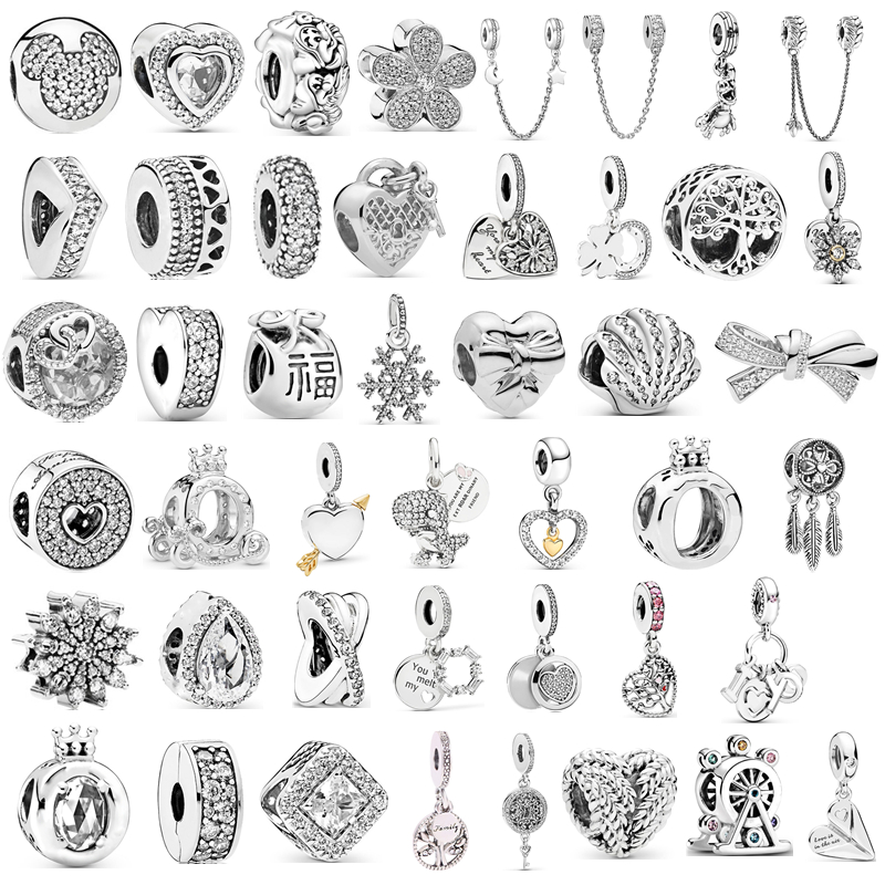 New Fit Pandora Charms Bracelets DIY Jewelry Women Original Beads Jewelry Accessories Silver Color Feather Ferris Wheel Pendant(China)
