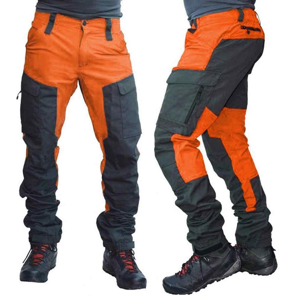 Pantalones Largos Tipo Cargo Deportivos Con Varios Bolsillos Para Hombre Pantalones De Trabajo Tacticos Pantalones Secos Rapidos Bloque De Color A La Moda Pantalones Informales Aliexpress