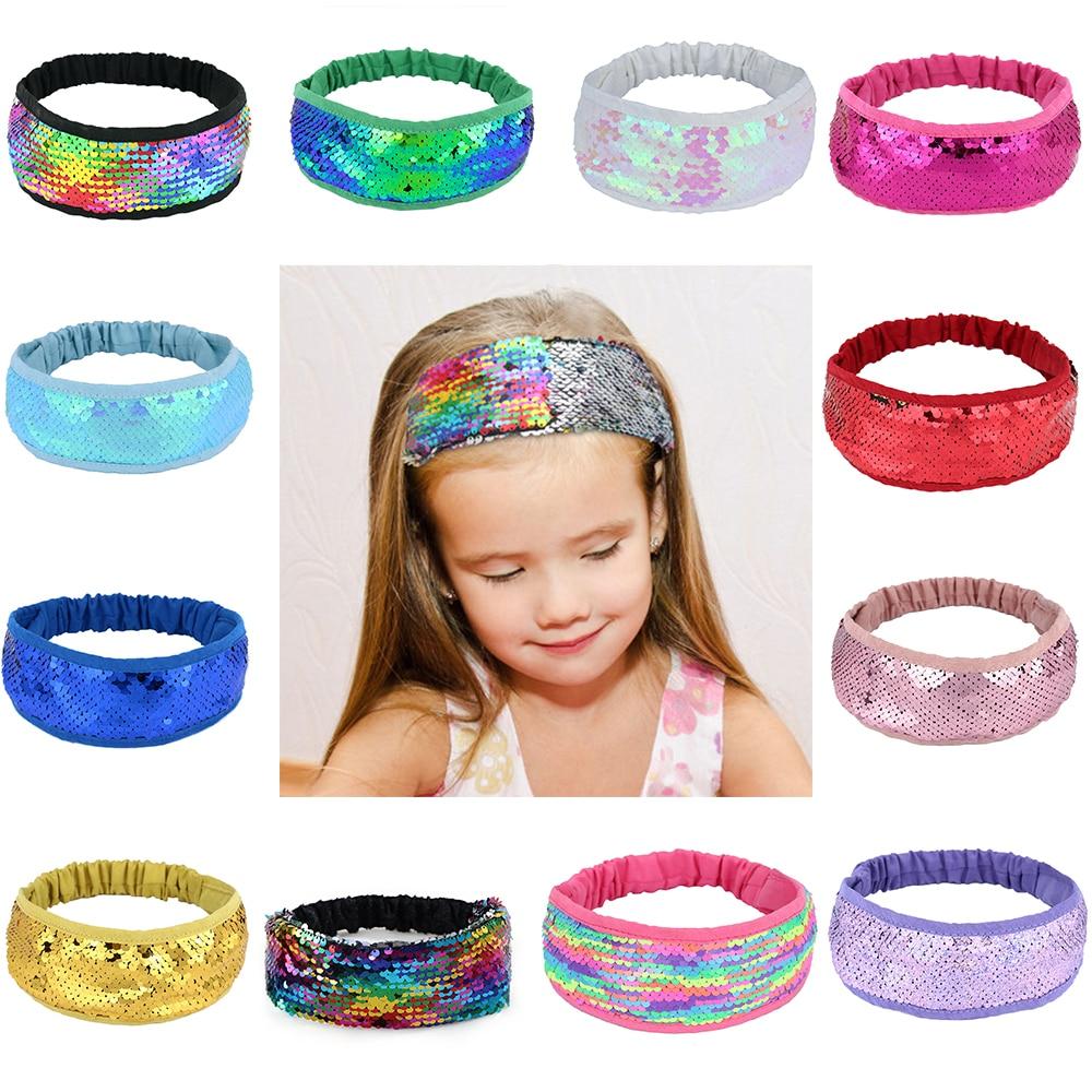 Headband For Women Reversible Sequin Hair Band Girls Elastic Head Band Rainbow Stretchy Headwear Fashion Hair Accessories