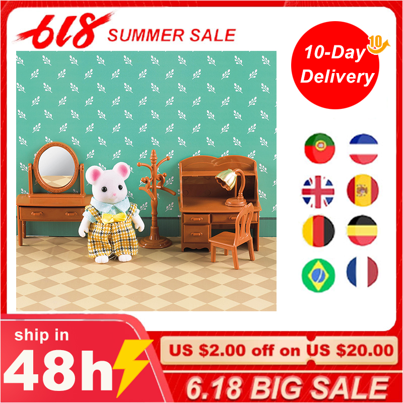 1:12 Forest Animal Family Villa Furniture Doll Toy Forest Family Mini Bedroom Set DIY Miniatura Doll House Children Furniture