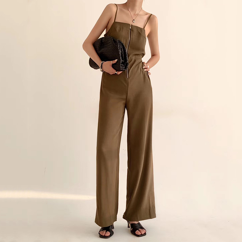 European American Women Elegant Designer High Street Straps Jumpsuits Sleeveless Sexy Solid 3 Colors Quality Loose Long Jumpsuit