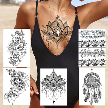 Sexy Lace Lotus Pendants Tattoos For Women Blach Henna Temporary Tattoo Sticker Water Transfer Fake Jewelry Bracelet Tatoo Paste