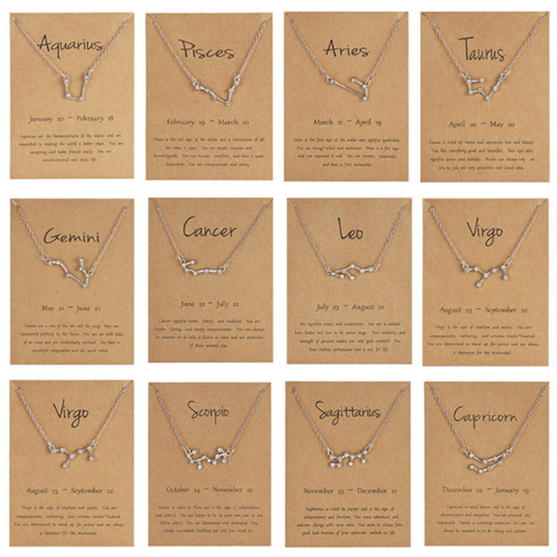 Ailodo 12 Constellation Pendant Necklace Zodiac Sign Birthday Gifts Message Card For Women Girl Fashion Jewelry LD237