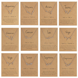 Ailodo 12 Constellation Pendant Necklace Zodiac Sign Necklace Birthday Gifts Message Card For Women Girl Fashion Jewelry LD237