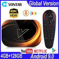 Caixa da tevê do andróide 128 amlogic s905x3 32 gb 64 gb 9.0 m wifi duplo 4 k 60fps netflix youtube media player vontar x3 8 k 4 gb 1000 gb