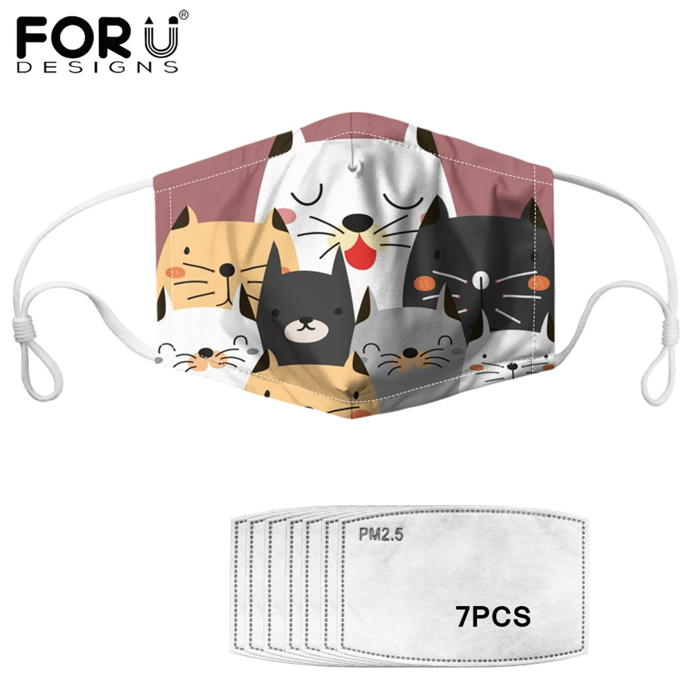 FORUDESIGNS Cute Cartoon Cats Print Dust Mouth Cover Mask Multi Use Comfortable Masks With 7Pcs PM2.5 Filter Outdoor Anti Haze