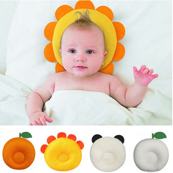 Cute Newborn Infant Girls Boys Anti Roll Cotton Pillow To Prevent Flat Head For Babies
