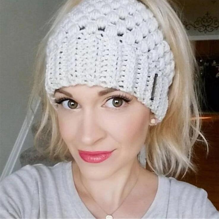 Warm Women Beanie Tail Messy Bun Hat Ponytail Stretchy Knit Skull Head Band Soft