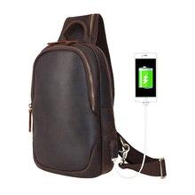 Мужская кожаная сумка-слинг Tiding, винтажные нагрудные сумки на плечо, повседневные сумки через плечо с usb-зарядным портом