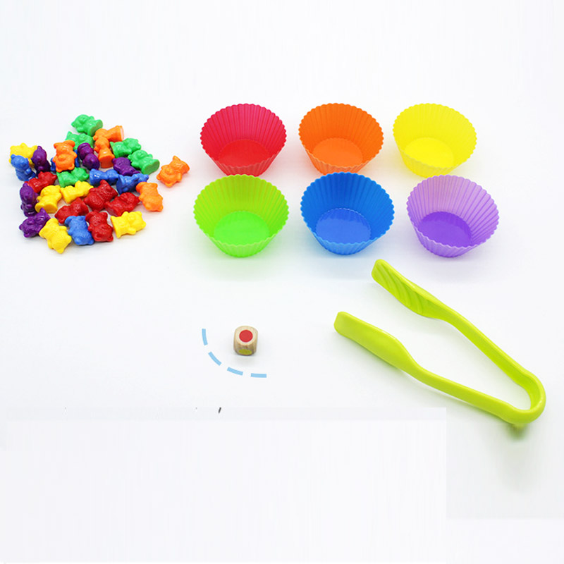 62pcs/set 6 color Counting Bears With Stacking Cups Montessori Educational math tools Color Sorting Matching Game toy gifts