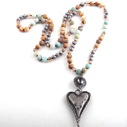 Fashion Bohemian Tribal Jewelry Stone Long Knotted Chain Crystal Links Metal Heart Pendant Necklaces  D