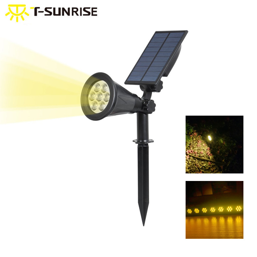 T-SUNRISE  Waterproof 7 LEDs Solar Powered Light Outdoor Garden Lighting Landscape Wall light 3000K Warm White