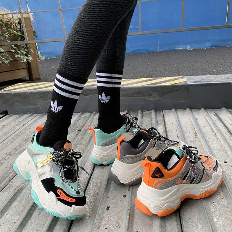 MBR LỰC LƯỢNG Mới Sneakers Nữ 2020 Femme Giày Giày Sneaker Nữ Thời Trang Phối Ren Cao Cấp Giải Trí Nữ Vulcanize Giày Nền Tảng