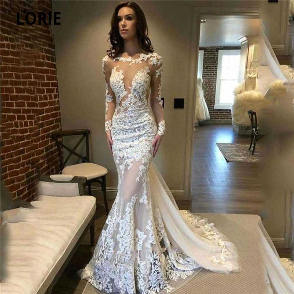 LORIE 2020 New Long Sleeve Wedding Dresses Mermaid Turkey Boho Bridal Gowns Illusion Back Court Train Vintage Marriage Plus Size