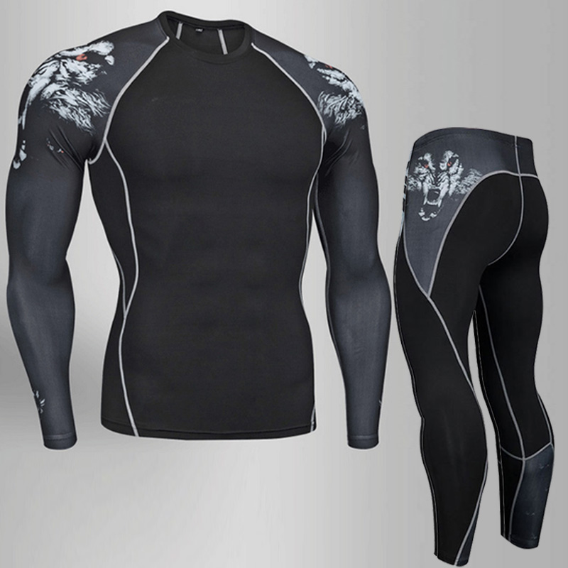 New hot two piece compression and quick drying sweatshirt men 39 s sportswear fitness sportswear sports men 39 s shirt pants suit in Running Sets from Sports amp Entertainment