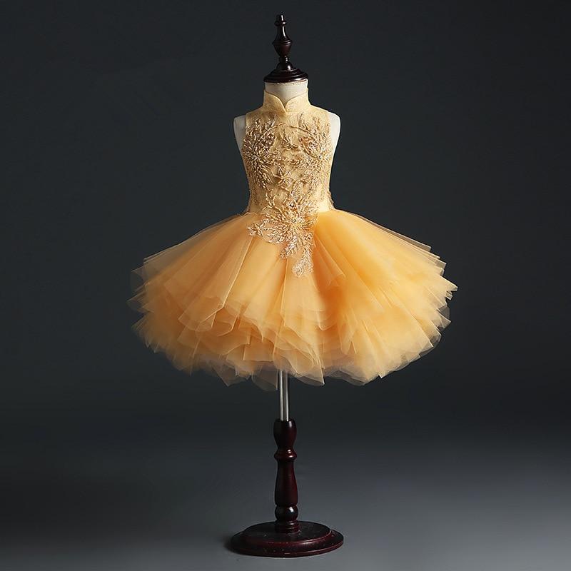 HS Kellio Flower Girl Dress Orange Ball Gown Tulle High Low Pageant Dresses Fashion Floor Length - 5