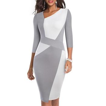 2020 Asymmetrical Collar Dress Elegant Casual Work Office Sheath Slim Dress 4