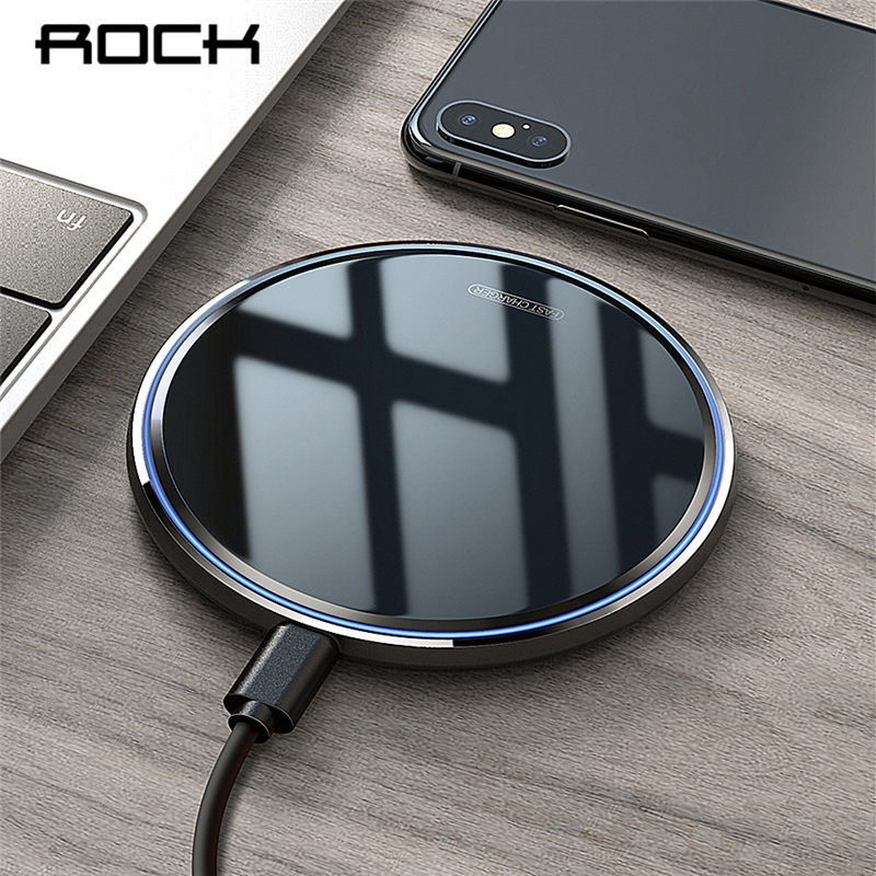 ROCK Metal 10W Wireless Charger Mirror Fast Charging For IPhone 8 X XR XS Max Samsung S10 S9 Desktop Wireless Charger Pad