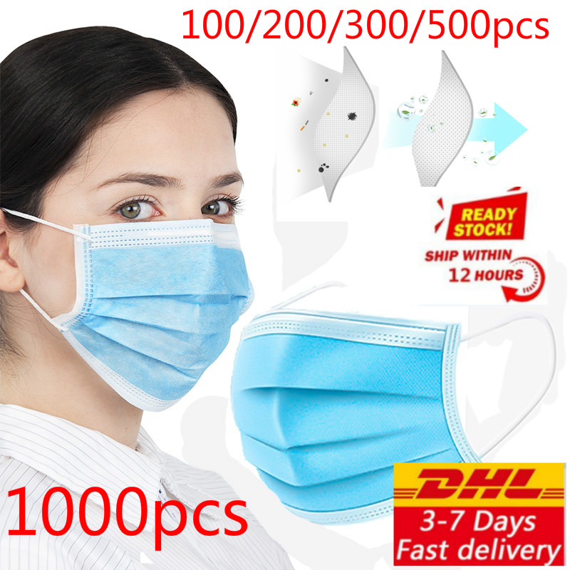 Dhl 100/200/500/1000pcs Disposable Dustproof Face Mouth Masks Face Mask Anti Virus Influenza