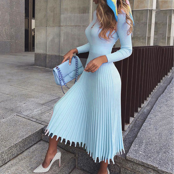 Elegant Party Pleated Sweater Women Dress 5