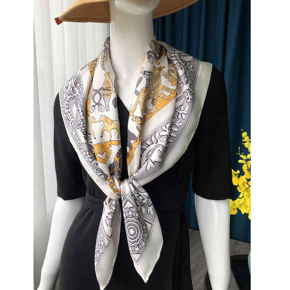 Women 100% Real Silk ScarfWraps Hijab For Hair Wrapping Hand Rolled 88x88cm