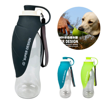 580ml Sport Portable Pet dog Water Bottle Soft Silicone Travel Dog Bowl for Puppy Cat Drinking Outdoor Water Dispenser Feeder