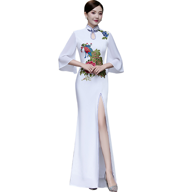 Plus Size 3XL 4XL 5XL Chinese Traditional Women Mermaid Embroidery Flower Qipao Vintage Cheongsam Novelty Chinese Formal Dress