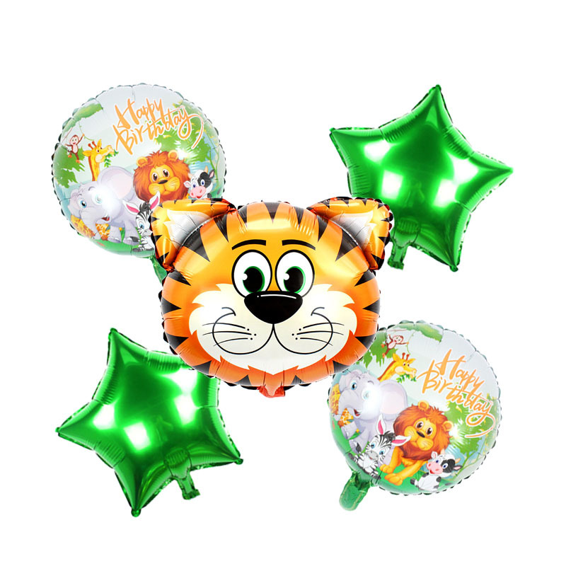 5pcs Cartoon Jungle Animal Theme Balloon Birthday Party Decorations   Balloon Party Supplies Cartoon Hat