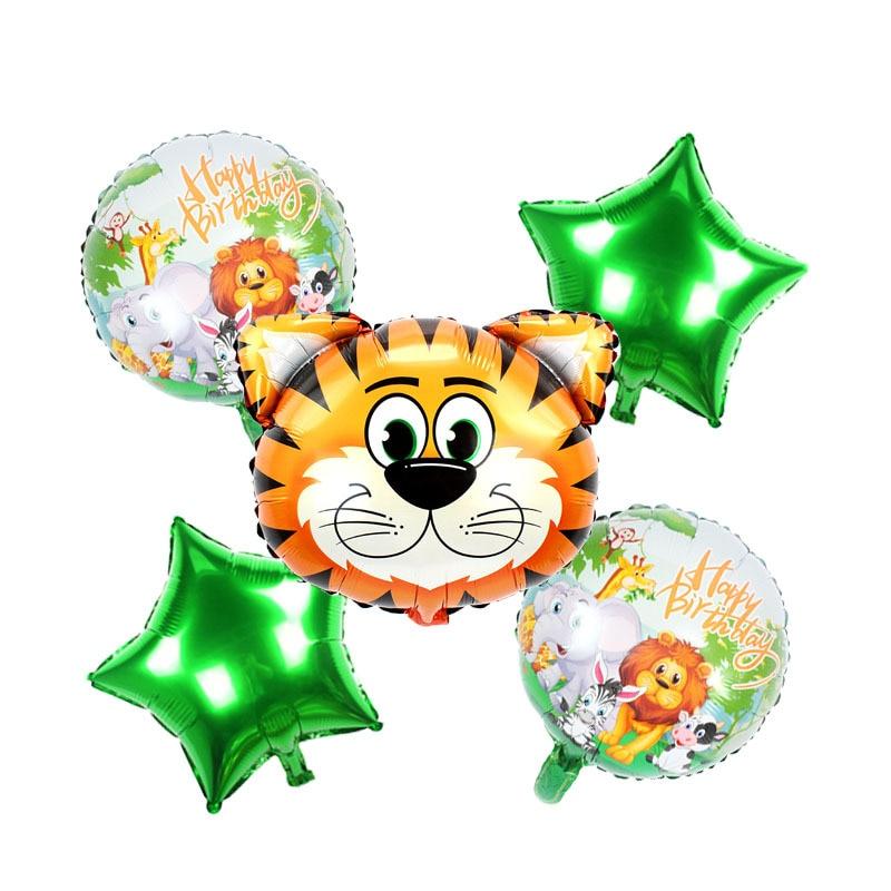 5pcs Cartoon Jungle Animal Theme Balloon Birthday Party Decorations   Balloon Party Supplies Cartoon Hat