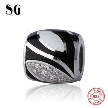 SG high polish 925 silver vintage black & white charms diy beads with CZ fit authentic European bracelet jewelry making men gift sg high polish 925 silver vintage black